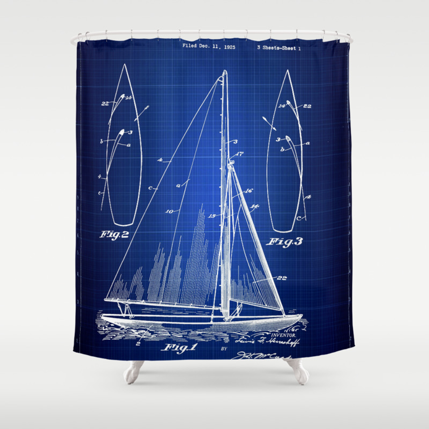 Sailboat Blueprint Patent Art Nautical Wall Art Beach House Decor Shower Curtain