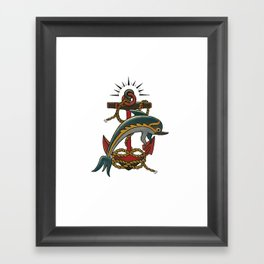 Dolphin with anchor and rope Framed Art Print