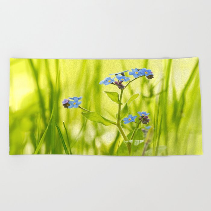 Lovely Morning Meadow Forget Me Not #decor #society6 Beach Towel