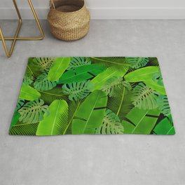Mix Tropical Leafs mashup pattern Rug