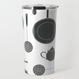Kitchen Tools (black on white) Travel Mug