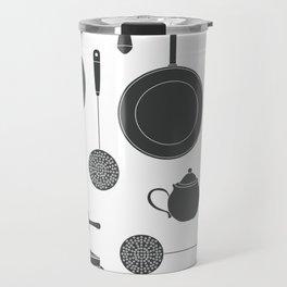 Kitchen Tools (black on white) Travel Mug