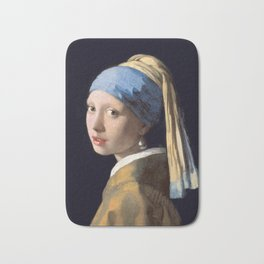 Girl with a Pearl Earring 1665 - Johannes Vermeer Bath Mat