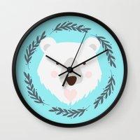 polar bear Wall Clocks featuring polar bear by Taranta Babu