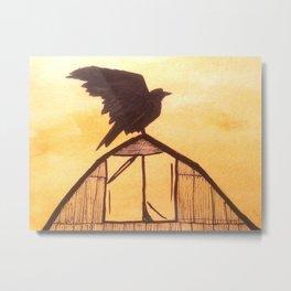Crow Taking Control Metal Print