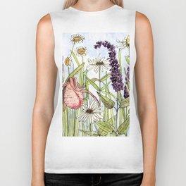 Lady Slipper Orchid Woodland Wildflower Watercolor Biker Tank