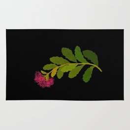 Sedum Telephium Mary Delany Vintage British Floral Flower Paper Collage Black Background Rug