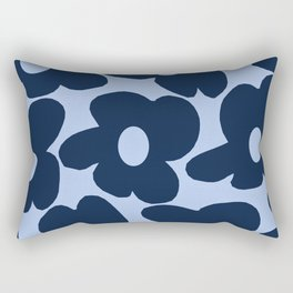 Large Dark Blue Retro Flowers Baby Blue Background #decor #society6 #buyart Rectangular Pillow