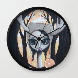 Deer Girl Taste The Sunshine Wall Clock