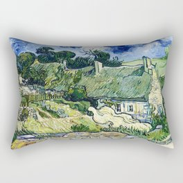 Vincent van Gogh - Thatched Cottages At Cordeville - Digital Remastered Edition Rectangular Pillow