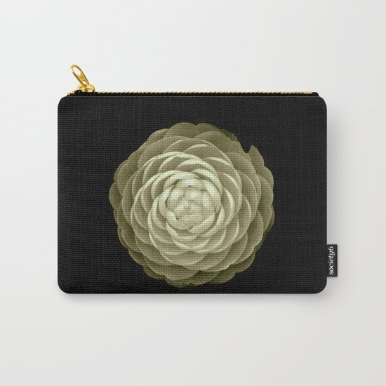 cream camelia on black background Carry-All Pouch