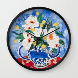 Queen of California - Giant Matilija Poppy Bouquet in Lion Vase on Blue Wall Clock
