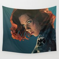 black widow Wall Tapestries featuring Black Widow by Chelsea Lindsay