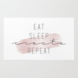 Eat Sleep Create Repeat Typography Sign Rug
