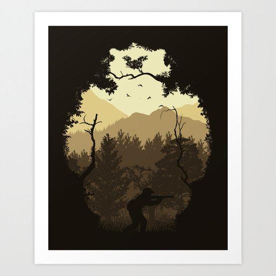 Hunting Season - Brown Art Print