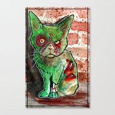 Mean Green Cute Zombie Cat Canvas Print