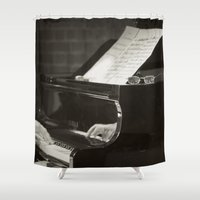 music notes Shower Curtains featuring Grand Piano and Music Notes by cinema4design