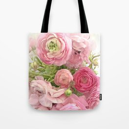 Shabby Chic Cottage Ranunculus Peonies Roses Floral Print Home Decor Tote Bag