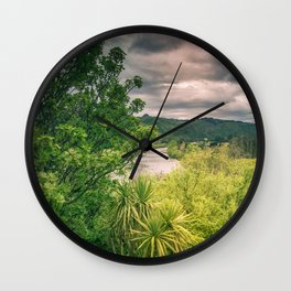 River Storm Clouds Wall Clock