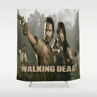 the walking dead Shower Curtains featuring Walking Dead by store2u