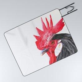 Rooster Portrait Picnic Blanket
