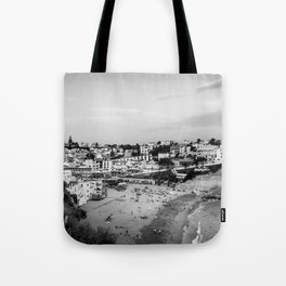 Carvoeiro town and beach in Lagoa, Algarve, Portugal. Black and White. Tote Bag