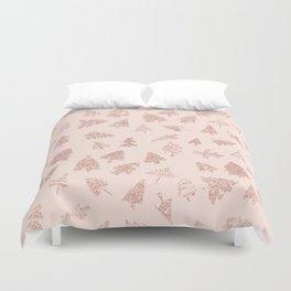 Modern rose gold glitter Christmas trees pattern on blush pink Duvet Cover