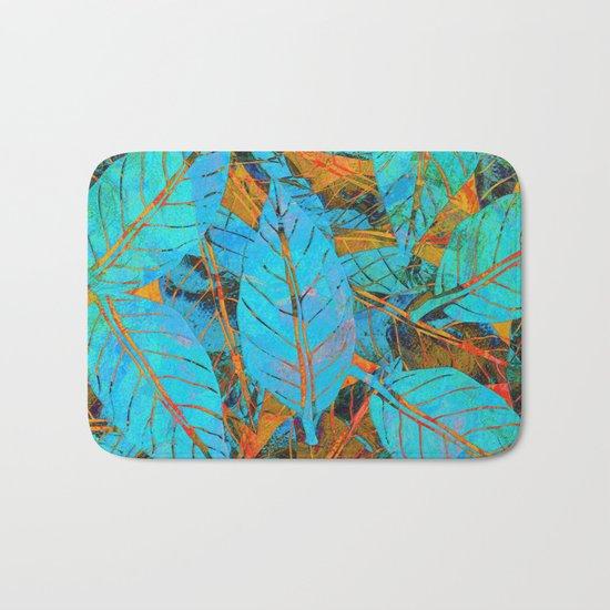 Blue & Orange Leaves Bath Mat