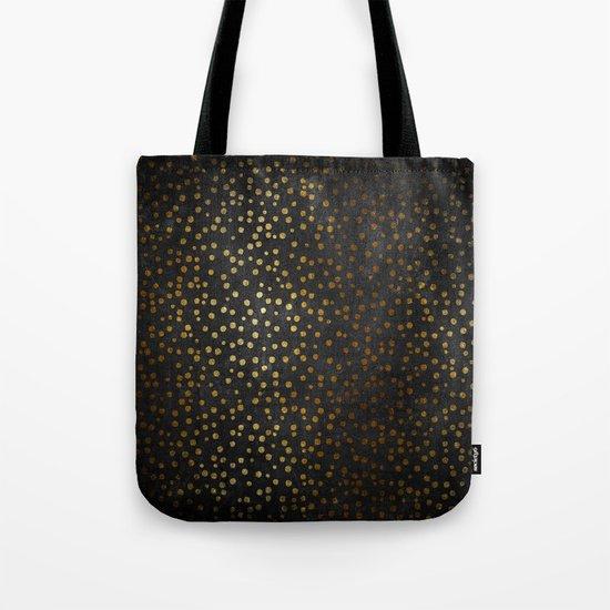 Gold polkadots dots on black backround-Elegant and Luxury Design Tote Bag