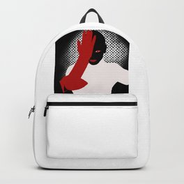 Black model with red lips Backpack
