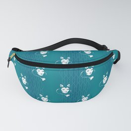 Faces - foxy lady on a teal wavey background Fanny Pack