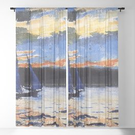 Winslow Homer's Gloucester Sunset nautical maritime landscape painting with sailboat - sailing Sheer Curtain