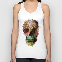 black white Tank Tops featuring SKULL 2 by Ali GULEC