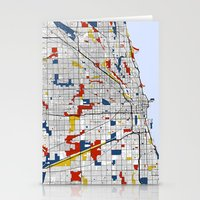 chicago Stationery Cards featuring Chicago by Mondrian Maps