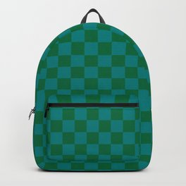 Teal Green and Cadmium Green Checkerboard Backpack