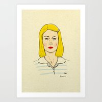 tenenbaum Art Prints featuring Margot Tenenbaum by Magdalena Pankiewicz