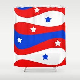 Patriotic Red White Blue Stars Swirls Shower Curtain