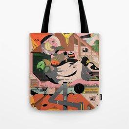 Modern Pizza Bird House Tote Bag