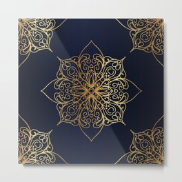 Gold and Navy Damask Metal Print