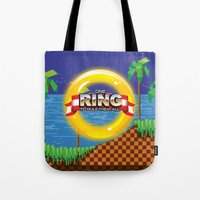 video game Tote Bags featuring Retro Platform Video game poster  by Nick's Emporium Gallery