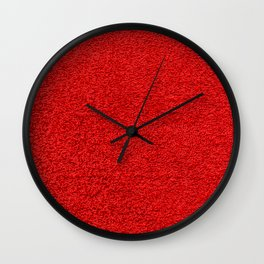 Rose Red Shag pile carpet pattern Wall Clock