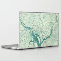 washington Laptop & iPad Skins featuring Washington Map Blue Vintage by City Art Posters