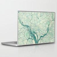 washington Laptop & iPad Skins featuring Washington Map Blue Vintage by City Art Posters