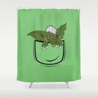 pocket Shower Curtains featuring Pocket monster by Buby87