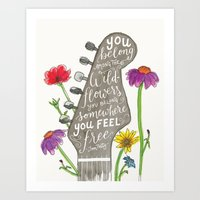 You belong among the wildflowers. Tom Petty quote. Watercolor guitar illustration. Hand lettering. Art Print
