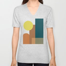 Shapes and Lines in Earthy Teal, Yellow, and Tan Unisex V-Neck