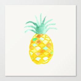 Original teal orange green watercolor pineapple Canvas Print