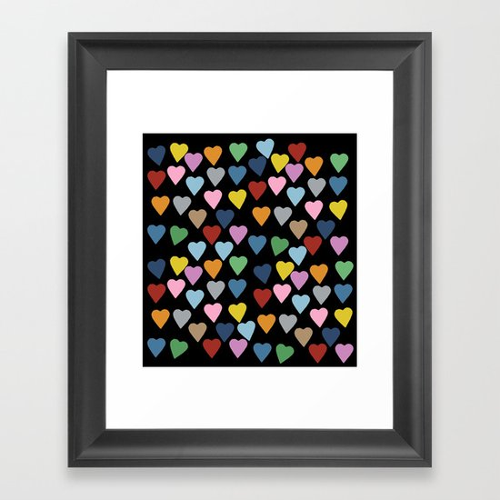 Hearts #3 Black Framed Art Print