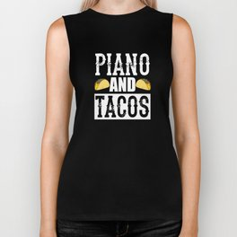 Piano and Tacos Funny Taco Band Biker Tank