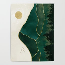 Mt Hood Emerald Mountain Abstract Poster